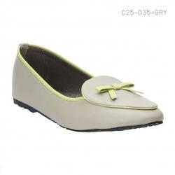รองเท้าส้นเตี้ย ทรงคัทชู ประดับโบว์น่ารัก (สีเทา )