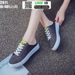 รองเท้าผ้าใบสวมเปิดท้าย ST611-BLK [สีดำ]