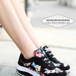 รองเท้าผ้าใบสีดำ เสริมส้นเวอร์ชั่นใหม่ ลายดอก ใส่สบาย น้ำหนักเบามาก เหมือนแบบ100%