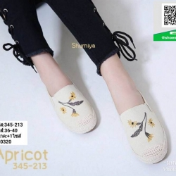 รองเท้าแบบสวม วัสดุผ้าด้านหน้า 345-213-CRM [สีครีม]
