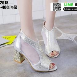 รองเท้าคัชชู เปิดหน้าส้นแท่ง งานนำเข้า100% ST2018-SIL [สีเงิน]
