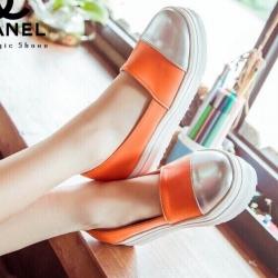 รองเท้าผ้าใบสีส้ม ทรงแบบสวมลำลอง งานเกร๋ๆ พื้นหนา1.5นิ้ว สไตส์ใสๆชิคๆ มาแล้วคร่า