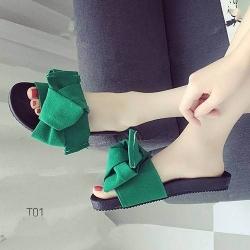 รองเท้าแตะแฟชั่นสีเขียว เปิดส้น ผ้ากำมะหยี่ผูกโบว์ (สีเขียว )