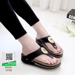 รองเท้าสุขภาพ พื้นนุ่ม 10182-ดำ [สีดำ]