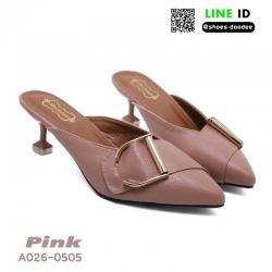 รองเท้าหัวแหลมเปิดส้น หน้าแต่งเข็มขัด A026-0505-PNK [สีชมพู]