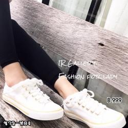 รองเท้าผ้าใบแฟชั่นสีขาวแถบทอง ผ้าแคนวาส รุ่นคลาสสิค (สีขาวแถบทอง )