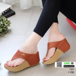 รองเท้าเตารีด เสริมส้นหูคีบ พื้นลายตาราง โลโก้ลาคอส 1108-แทน [สีแทน]