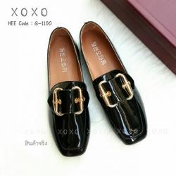 รองเท้าคัทชูส้นแบนสีดำ หัวตัด หนังแก้ว (สีดำ )