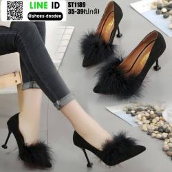 รองเท้าคัชชูส้นแจกัน ST1189-BLK [สีดำ]
