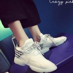รองเท้าผ้าใบสีขาว สินค้านำเข้า ผ้ายืดตาข่าย ผสมผ้าแก้ว นน.เบา กระชับเท้า ไม่ปั๊มโลโก้