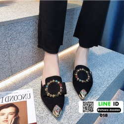 รองเท้าหัวแหลมเปิดส้น หนังชามัวร์นิ่ม 018-BLK [สีดำ]
