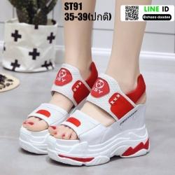 รองเท้าแฟชั่นส้นตึกรัดท้าย ST91-RED [สีแดง]