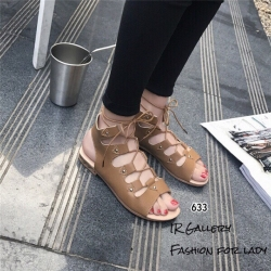 รองเท้าแตะรัดส้นสีกากี พันข้อ เส้นสานหน้า (สีกากี )