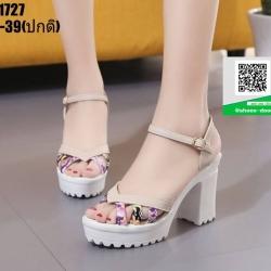 รองเท้าส้นแท่งรัดข้อ ST1727-CRM [สีครีม]