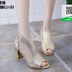 รองเท้าคัชชู เปิดหน้าส้นแท่ง งานนำเข้า100% ST2018-GLD [สีทอง]