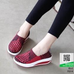 รองเท้าผ้าใบยางยืด 7014-แดง [สีแดง]