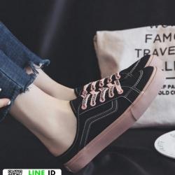 รองเท้าผ้าใบผ้าใบ เปิดหลัง เชือกชมพู G-1425-BLK [สีดำ]
