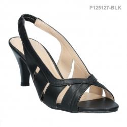 รองเท้าส้นสูงรัดส้น เปิดหลังเท้า (สีดำ )