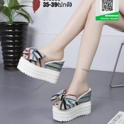 รองเท้าแบบสวมส้นตึก งานนำเข้า100% ST3608-BLU [สีน้ำเงิน]