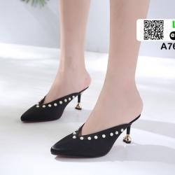 รองเท้าส้นเข็มเปิดส้น ผ้าซาติน แต่งมุข A7603-8-BLK [สีดำ]