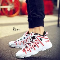 รองเท้าผ้าใบ PU ทรง SPORT-Red A-11 [สีแดง]