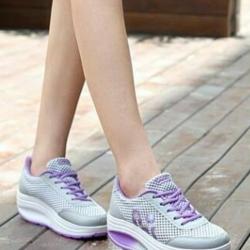 รองเท้าผ้าใบเสริมส้น ผ้าตาข่าย (สีเทา/ม่วง )