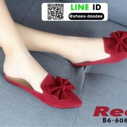 รองเท้าส้นเตี้ย แบบสวม เปิดส้น B6-608-RED [สีแดง]