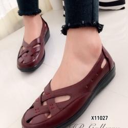 รองเท้าคัทชู แนววินเทจ หน้าไขว้ (สีแดง )