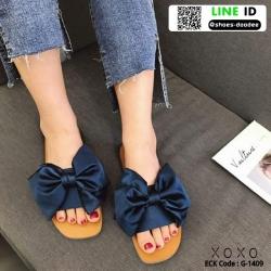 รองเท้าแตะผ้าซาติน แต่งโบว์ G-1409-BLU [สีน้ำเงิน]