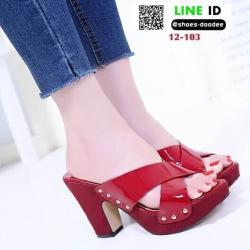 รองเท้าลำลองเปิดส้น หนังแก้วนิ่ม ส้นไม้ 12-103-RED [สีแดง]