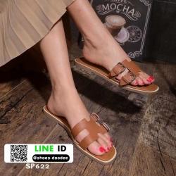 รองเท้าแตะเปิดส้น New hermes sandals SP622-BWN [สีน้ำตาล]