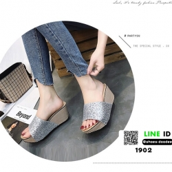 รองเท้าส้นเตารีด หน้าสวมหนังนิ่มแต่งกากเพชร 1902-SIL [สีเงิน]