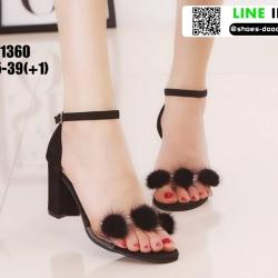 รองเท้าส้นแท่งรัดข้อ ST1360-BLK [สีดำ]