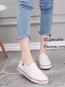รองเท้าผ้าใบไร้เชือกสีขาว ผ้าแคนวาสลายตาราง (สีขาว )