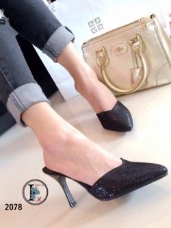 รองเท้าส้นเข็มสีดำ เปิดส้น หัวแหลม หน้าวี (สีดำ )