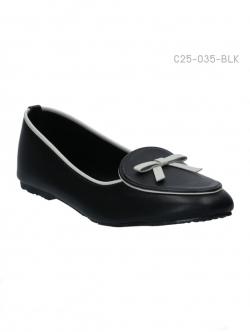 รองเท้าส้นเตี้ย ทรงคัทชู ประดับโบว์น่ารัก (สีดำ )