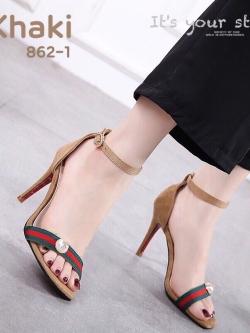 รองเท้าส้นเข็มรัดข้อสีกากี ผ้าสักหราดนิ่ม GUCCI Style (สีกากี )