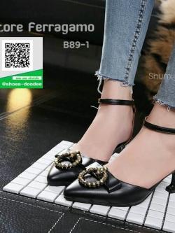 รองเท้าคัทชูส้นเข็มหัวแหลมสีขาว รัดข้อ (สีขาว )
