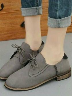 รองเท้าบูททรงเตี้ย แนววินเทจ (สีเทา )