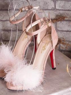 รองเท้าส้นเข็มรัดข้อสีชมพู หนังชามัวร์ แต่งขนเฟรอ์ (สีชมพู )