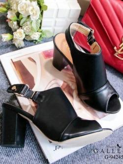 รองเท้าส้นตันรัดส้นสีดำ ทรงสวม เก็บหน้าเท้า (สีดำ )