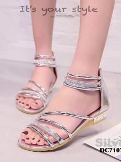 รองเท้าส้นแบนรัดข้อสีเงิน ปิดส้น สไตล์เกาหลี (สีเงิน )
