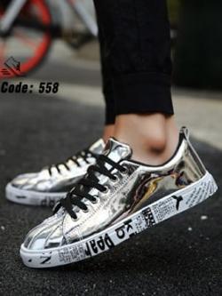 รองเท้าผ้าใบ Flashion หนัง PU-silver 558 [สีเงิน]
