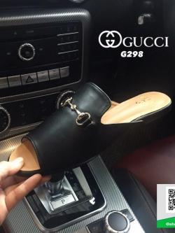 รองเท้าส้นแบนสีดำ เปิดส้น Style Gucci (สีดำ )