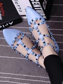 รองเท้าคัชชูสีฟ้า คัลเลอร์ฟูล 7 สี งาน Valentino แบบชนช้อป สินค้าคอเลคชั่นใหม่ ไฉไล กว่าเดิม วัสดุทำจากหนังpu นิ่มมาก