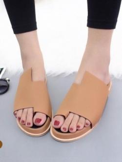 รองเท้าแตะเพื่อสุขภาพสีแทน หนังนิ่ม งานสวยดีไซน์เก๋ (สีแทน )