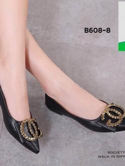 รองเท้าคัทชูส้นแบนสีดำ หัวแหลม หนังนิ่ม (สีดำ )