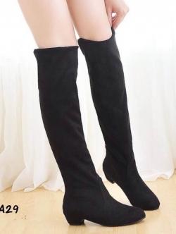 รองเท้าบูทยาวหุ้มเข่า เสริมส้น (สีดำ)