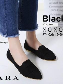 รองเท้าคัทชูส้นแบน หัวแหลม เย็บหนังซ้อน สไตล์Zara (สีดำ )