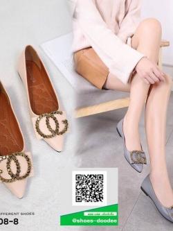 รองเท้าคัทชูส้นแบนสีแอปริคอท หัวแหลม หนังนิ่ม (สีแอปริคอท )